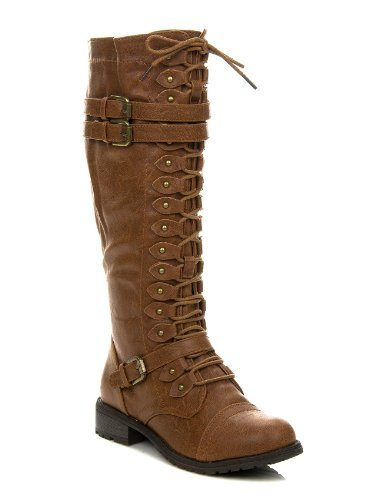 Wild Diva Women's Fashion Timberly-65 Military Knee High Combat Boots Shoes Cognac 5.5