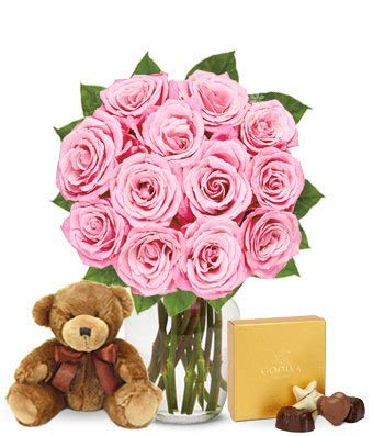 Flowers - One Dozen Pink Roses with Chocolates and a Bear (Free Vase Included) ()