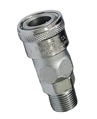 """Nitto Kohki Hi Cupla 30SM Quick Connect Pneumatic Coupler Socket, 3/8"""" Size, Male, BSPT Thread, 218 PSI, Steel"""