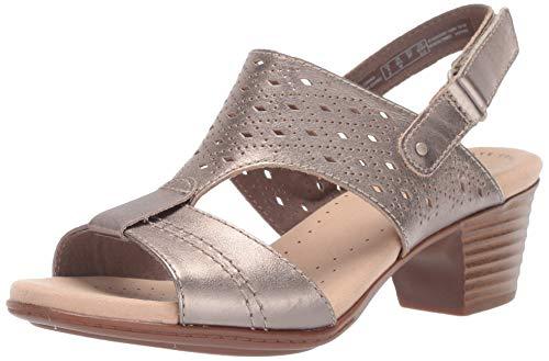 CLARKS Women's Valarie Mindi Heeled Sandal Pewter Leather 070 M US