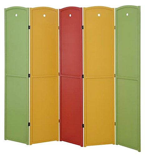 Legacy Decor 5-panel Solid Wood Screen Room Divider, Red, Green, Honey by Legacy Decor