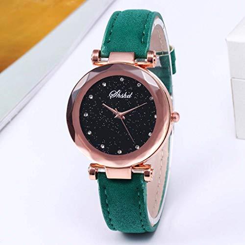 Ladies Wrist Watches, Fashion Luxury Starry Sky Dial Quartz Watch Diamond Shining Bling Women Watches Pu Leather Band (Green)