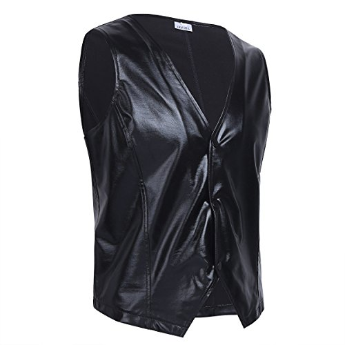 YiZYiF Men's Shiny Metallic PVC Leather Old School Black Costume Vest Top Black Large -