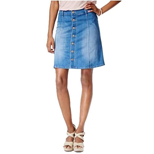 Celebrity Pink Junior's Button-Front Denim Skirt, Indigo, Size M free shipping