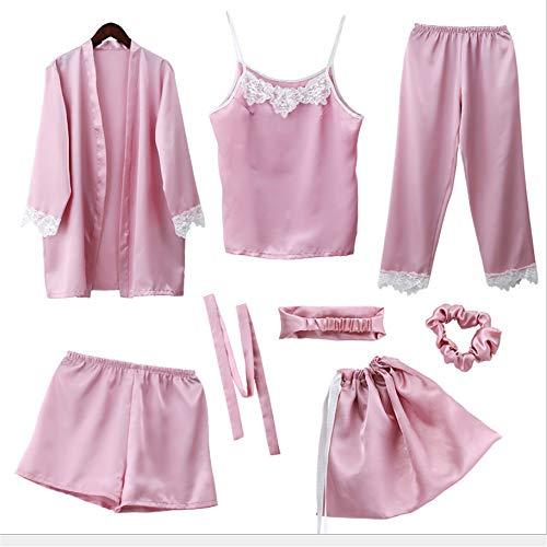 Mmllse Pigiama Pigiama Set Di Colore Solido Di Seta Vestirsi Sleep Sleepwear Girl Sette Pezzi Vestito Nighty 2018 Homewear Rosa Photo Color