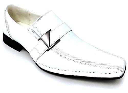 - Alberto Fellini Santoni Men's Dress Shoes Casual Loafers Elastic Slip on Fashion Buckle Italian Styles (9 D(M) US, White)