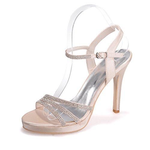 Frauen Braut 5915 16 Abend Schuhe Open Hochzeit Fantasievollsten Heel Sandalen Pump Toe Champagner High Perlen 5dARq5H7nw