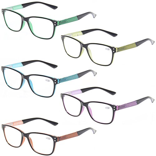 READING GLASSES 5 Pack Fashion Unisex Readers Spring Hinge With Stylish Pattern Designed Glasses (5 MIx Color, 4.0) ()