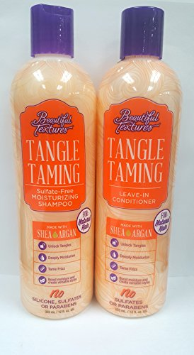 Beautiful Textures Set: Tangle Taming Sulfate-Free Moisturizing Shampoo + Leave-In Conditioner - For Natural Hair - Made w/ Shea Argan - 12 Oz, 2-Pack