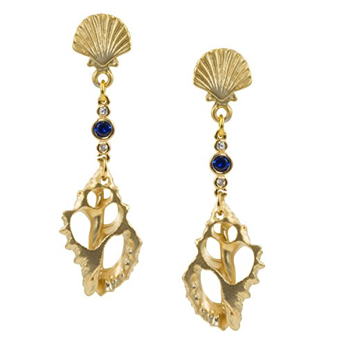 Seashell Post (Gold Plated Conch Shell Slice with Blue Crystal - Seashell Post Dangle Earrings)