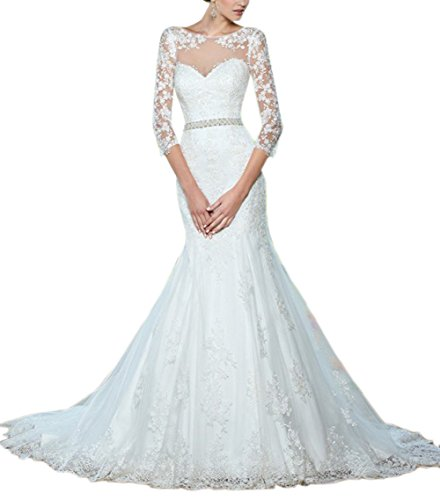 Sayadress Women's 3/4 Sleeves Lace Applique Mermaid Rhinestone Sash Wedding Gown with Sheer Neck White US6 by Sayadress