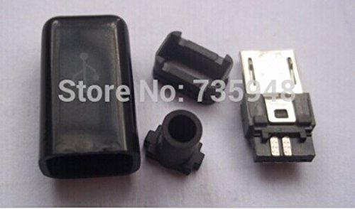 Gimax 100pcs//lot Micro USB 5Pin Male Connector Socket DIY with Plastic Cover