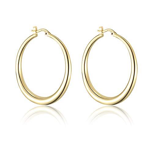 dnswez 14K Gold Plate Hoop Earrings Fashion Geometric Circles Statement Earring for Women Girls ()