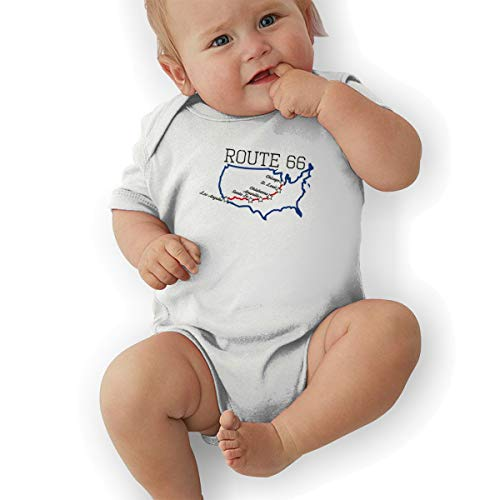 (DGGE Route 66 Vacation Highway Road Baby Romper Baby Boy and Baby Girl Suit White)