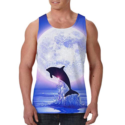 - FANTASY SPACE Jersey Sleeveless Vest Shirts for Men Boys Teens Adult Sweatproof Workout & Training Activewear Tank Vest Casual Soft Athletic Regular Fit Shirts (Full Moon Dolphin Purple Blue)