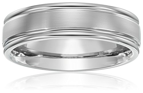 Titanium 6mm Comfort Fit Wedding Band with Satin Finish Center and High Polish Edges , Size 9 - High Satin Finish
