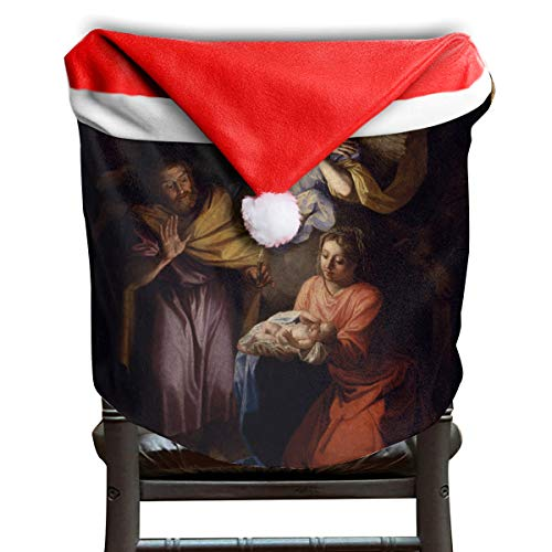 EDYE Famous Nativity Paintings Christmas Xmas Themed Dinning Seat Chair Cap Hat Covers Ornaments for Backers Slipcovers Wraps Coverings Decorations Protector ()