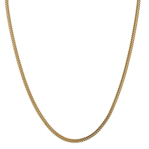 - 14k Yellow Gold 3mm Franco Chain Necklace 22 Inch Pendant Charm Figaro Fine Jewelry Gifts For Women For Her