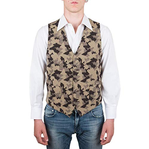 Chaleco, Chaqueta de punto sin mangas, Hombre, Marrón, lana, Botones,