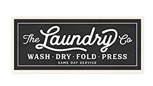 Stupell Home Décor Vintage Laundry Sign Cursive Typography Wall Plaque Art, 7 x 0.5 x 17, Proudly Made in USA
