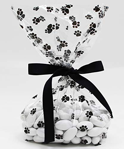 Dog Paw Prints Cellophane Treat Party Favor Bags with Grosgrain Ribbon Ties. Pack of 12 Large Goodie Gift Bags for Kids, Boys or Girls Birthday Parties, Baby Shower Celebrations. Black and Clear