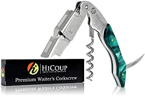 Professional Waiter's Corkscrew by HiCoup – Jade Resin Handle All-in-one Corkscrew, Bottle Opener and Foil Cutter, the Favored Choice of Sommeliers, Waiters and Bartenders Around the World