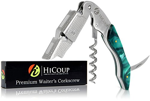 Professional Waiter's Corkscrew by HiCoup – Jade Resin Handle All-in-one Corkscrew, Bottle Opener and Foil Cutter, the Favored Choice of Sommeliers, Waiters and Bartenders Around the World by HiCoup Kitchenware