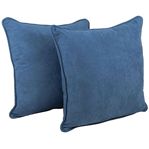 Blazing Needles Double-Corded Solid Microsuede Square Floor Pillows with Inserts (Set of 2), 25'', Indigo