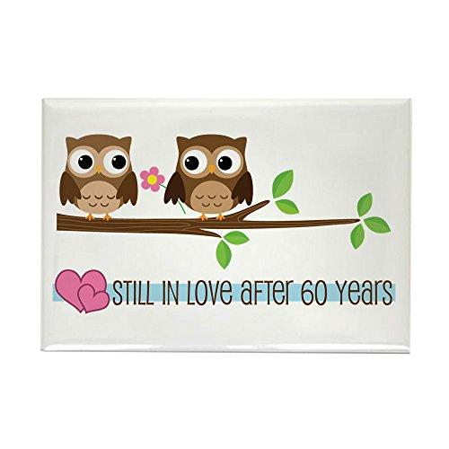 "CafePress 60th Wedding Anniversary Owls Rectangle Magnet Rectangle Magnet, 2""x3"" Refrigerator Magnet"