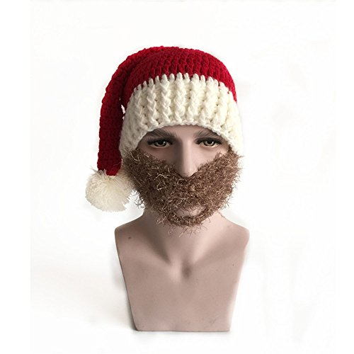Brown Raider Adult Hat (Easytop Red Winter Santa Hat Snow Ski Caps With Visor Party Accessory Outdoor Recreation Unisex lovers Warm Knitted Crochet Baggy Beanie Hat Cap Including Brown Beard Masks)
