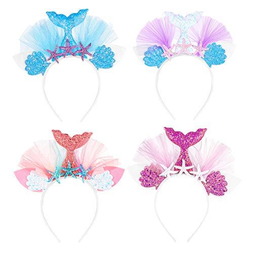 Lurrose Mermaid Tail Headband-4Pcs Mermaid Hair Accessories Birthday Costume Party Supplies for Women Girls]()