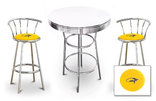 The Furniture Cove New 3 Piece Iguana Reptile Themed Chrome Metal Bar Table Set with Black or White top and 2 Bar Stools with Your Choice Of Seat Cushion Vinyl Color.
