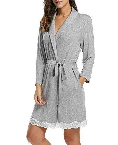 Albornoz Camisa De Para Noche Bata Robe Calentamiento 3 Ropa Dormir Suave Gasa Largo Mujer Vestido grau Atwqx5Y7w