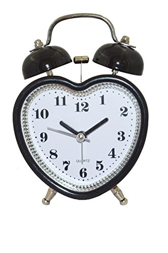 """Kolet"" Analog Heart shape Black Clock with Alarm and Backlight"