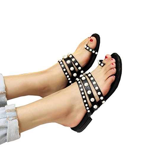 DFB Women's Shoes Small Incense Leather Pearl Slippers Women Flat Bottom Clip Toe Cool Slippers Flat With Light Slippers For Women,Black-34