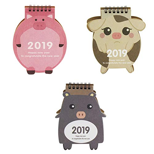(Pack of 3) October 2018 - December 2019 Desktop Calendar Stand, Cute Cartoon Animal Daily Monthly Table Planner Agenda by C.C.-US