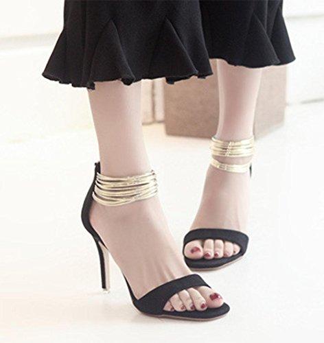 MEILI Cabeza cuadrada de mujer con sandalias de correa con hebilla de palabra 1