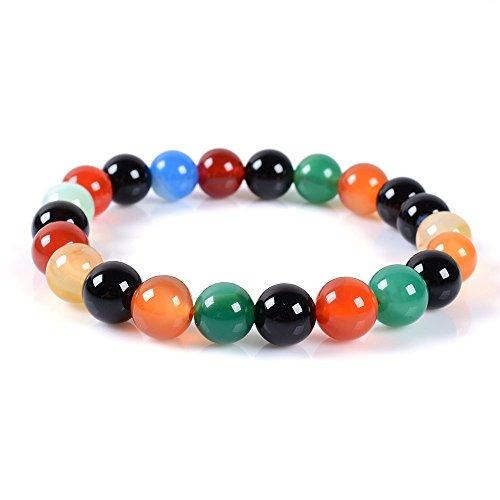 (Multicolor Agate Gemstone 8mm Round Beads Stretch Bracelet 7