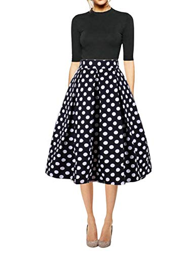 Hanlolo Women's Polka Dot A Line Skirts High Waisted Pleated Flared Midi Skirt