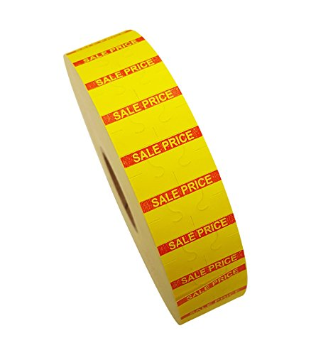 Amram 1 Line Price Marking Labels, Yellow/Red Sale Price, 1 Sleeve of 20,000 Labels (8 Rolls, 2,500 Labels Per Roll) for Monarch 1131. Includes 1 Replacement Ink Roller.