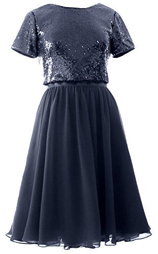 Sequin MACloth Short Dress Formal Gown Bridesmaid Sleeves Navy Cap Piece Dark Two Chiffon wC1CqI0r
