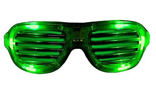 Green LED Flashing Shutter Slotted Shade Party Dance Spirit Sun Glasses ()