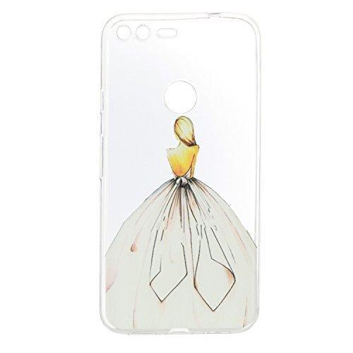 Qiaogle Teléfono Caso - Funda de TPU silicona Carcasa Case Cover para Huawei Honor 6X (5.5 Pulgadas)(2016) - HX28 / Horse HX18 / Blanco chica vestida