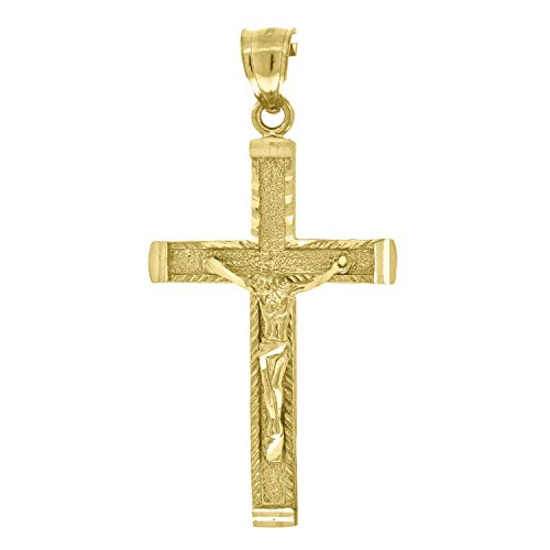 - Jewels By Lux 10kt Yellow Gold Womens Mens Unisex Cross Crucifix Jesus Religious Fashion Charm Pendant