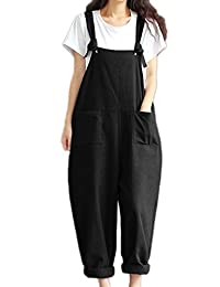 Zojuyozio Womens Casual Sleeveless Loose Jumpsuit Knot Romper Overall Plus Size