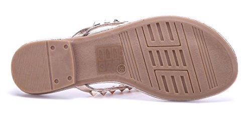 Schuhtempel24 Damen Schuhe Zehentrenner Sandalen Sandaletten Gold Flach Nieten