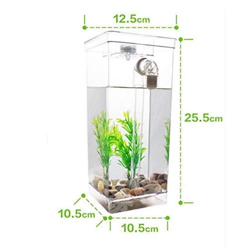 New Creative Self Cleaning Aquarium Fish Bowl With LED Light Aquarium Mini Ecological Betta Fish Tank Incubator Bowl Kid   bluee, M