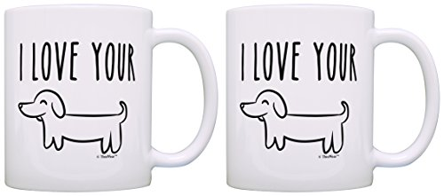Anniversary Gifts for Boyfriend I Love Your Wiener Dog Funny Anniverary Gifts for Husband Anniversary Gifts 2 Pack Gift Coffee Mugs Tea Cups White