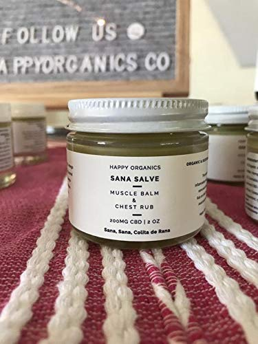 Sana Salve, Organic Muscle Joint Nerve Balm Pain Relief and Chest Rub with Hemp Extract