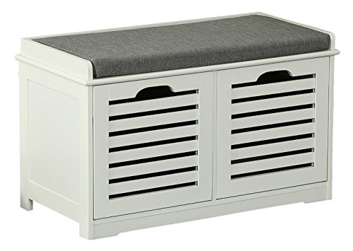 Orolay Storage Bench with 2 Drawers & Seat Cushion Shoe Cabinet ZHXD24 White - Drawer Shoe Cabinet